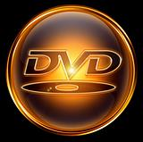 DVD icon gold, isolated on black background
