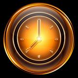 clock icon gold, isolated on black background
