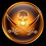 Pirate icon gold, isolated on black background