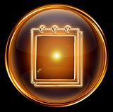 calendar icon gold, isolated on black background