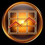  Graph icon golden, isolated on black background