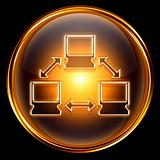 Network icon golden, isolated on black background.