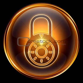 Lock closed icon gold, isolated on black background