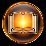 book icon golden, isolated on black background.