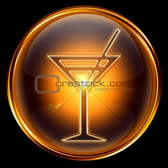 wine-glass icon golden, isolated on black background.