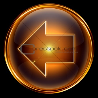 Arrow left icon golden.