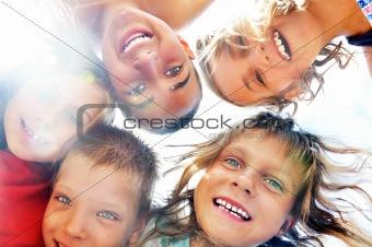 portrait of happy friends having fun outdoor