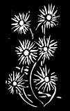 Woodcut Flowers Black