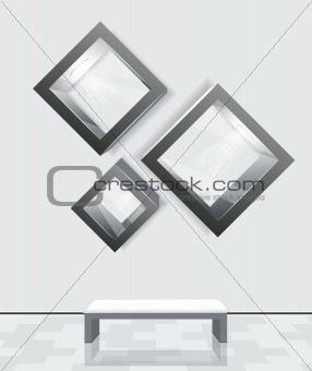 3d isolated Empty shelves