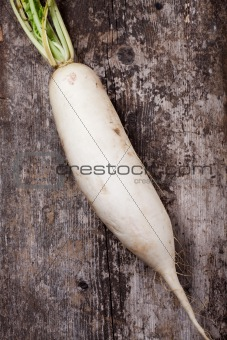 single radish on a wooden plank
