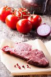 raw steak and pepper corns