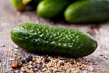 closeup of raw gherkins