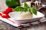 yeast dough with basil leaf