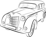 Drawing of the retro car, vector illustration