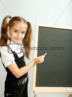 Girl and clear blackboard