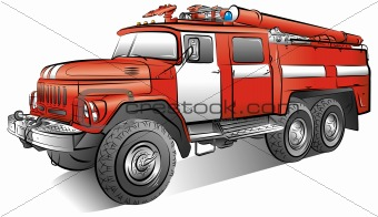 Drawing of the russian color fire-engine, vector illustration