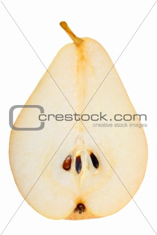 One a red-yellow slices of pear