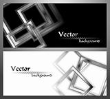 Set of stylish monochrome banners