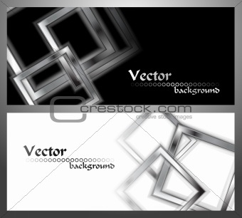 Set of stylish monochrome banners