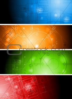 Colourful technical banners
