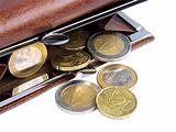 Open wallet with coins