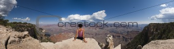 Loneliness woman in Grand Canyon panoramic