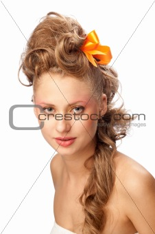 beautiful girl with an elegant hairstyle