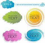 Four elements (stickers), vector illustration