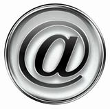 email symbol grey, isolated on white background.