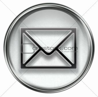 postal envelope grey, isolated on white background