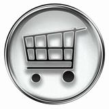 shopping cart icon grey, isolated on white background.