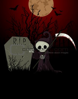 Cartoon grim reaper pointing to tombstone
