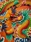 Dragon sculpture on wall