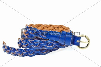 blue belt  on whtie background