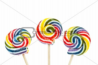 Group of Colorful spiral lollipop isolated on white background