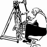 sketch of women weavers at the loom