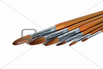 Paint brushes, isolated on a white background