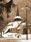 Small church in Chamonix in the winter