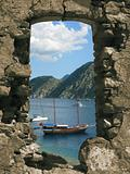 Seascape from ruins of ancient monastery in Turkey