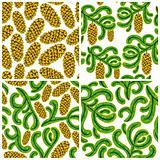 Spruce seamless patterns set.