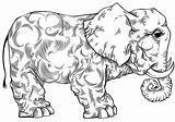 Elephant black and white drawing.
