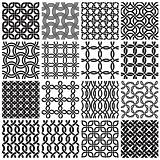 Set of black and white seamless patterns.