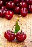 Cherries on rustic table