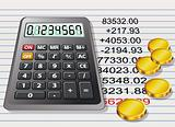 vector calculator, golden coins and a sheet of paper with calcul