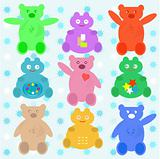 smile cute cartoon animals bear set blue wallpaper