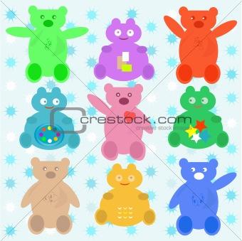 smile cute cartoon animals bear set blue wallpaper