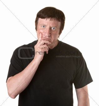Man With Fingers On Chin
