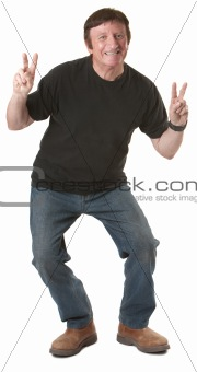 Man Showing Victory Symbol