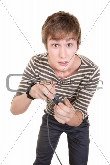 Teen With Game Controller