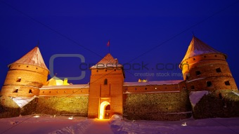 Trakai Island Castle in the night in winter.